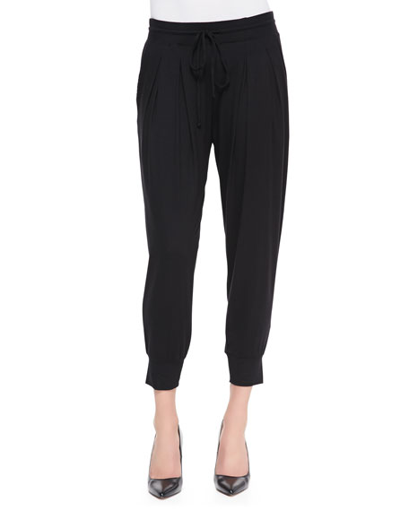 Pleated Capri Pants with Pockets, Black