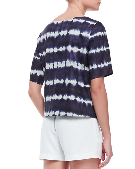Memphis Tie-Dye Leather Short-Sleeve Top