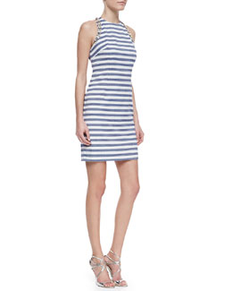 Trina Turk Camille Striped-Knit Bead-Detail Dress