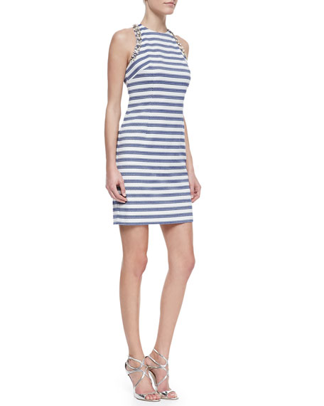 Camille Striped-Knit Bead-Detail Dress