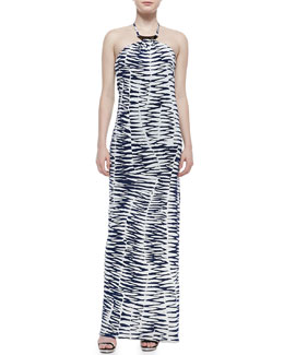 Trina Turk Lane Zebra-Print Jersey Maxi Dress