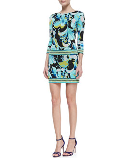 Trina Turk Emmet Printed Jersey 3/4-Sleeve Dress