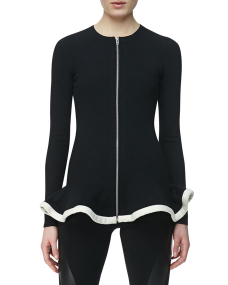 Knit Zip-Front Jacket with Peplum, Black/White