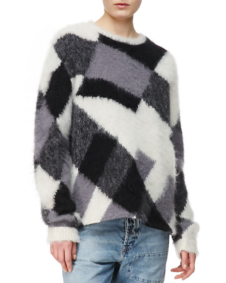 Crew Neck Mohair-Blend Sweater, White/Black/Gray