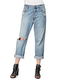 McQ Alexander McQueen Patched Boyfriend Jeans, Distressed Indigo