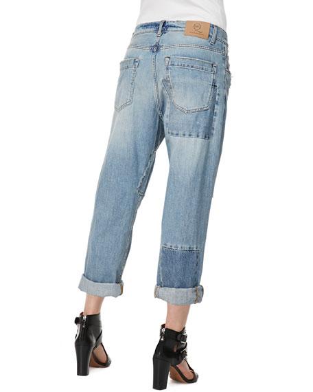 Patched Boyfriend Jeans, Distressed Indigo