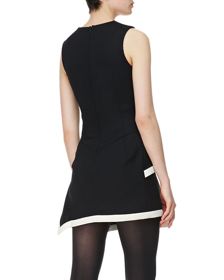 Round-Neck Peplum Dress, Black/White