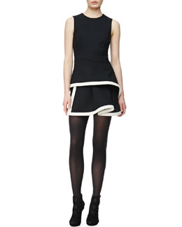 McQ Alexander McQueen Round-Neck Peplum Dress, Black/White