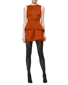 McQ Alexander McQueen Round-Neck Peplum Dress, Amber