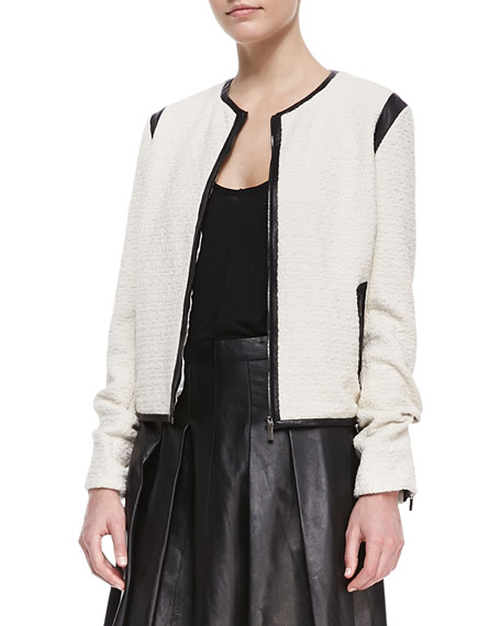Faux-Leather-Trim Cardigan Jacket
