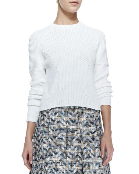 Cropped Eyelet Long-Sleeve Sweater