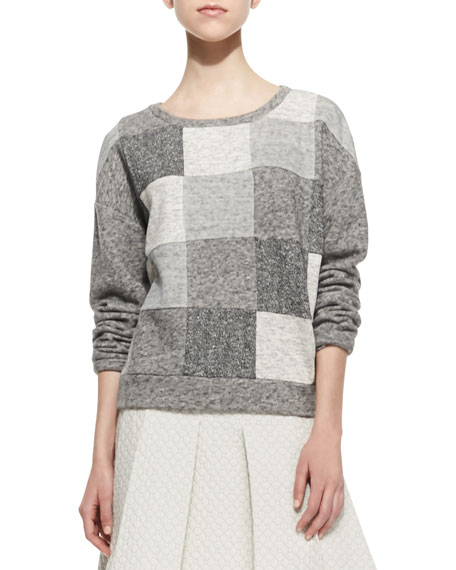 Patchwork Knit Scoop-Neck Sweatshirt