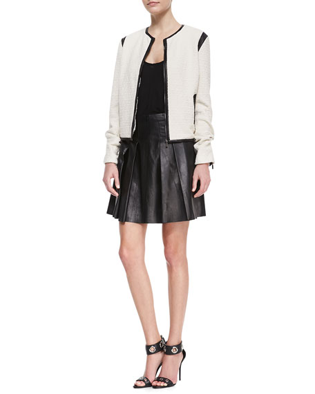 Pleated Faux-Leather Skirt