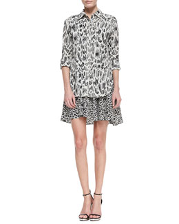 10 Crosby Derek Lam Tiered Mixed-Print Shirtdress