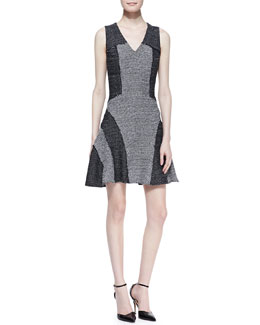 10 Crosby Derek Lam V-Neck Tweed Fit-and-Flare Dress