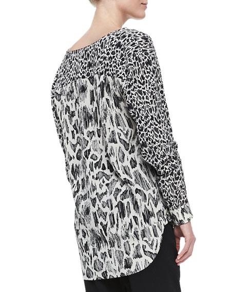 Mixed-Print Drape-Front Blouse