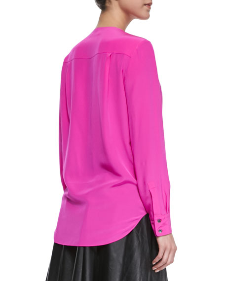 Long-Sleeve Drape-Front Blouse, Shocking Pink