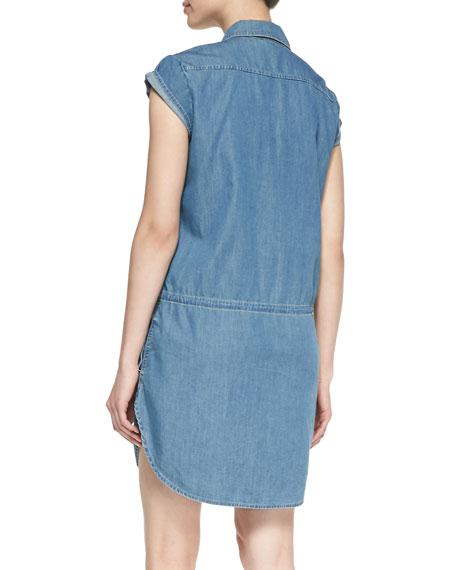 Mila Drop-Waist Denim Shirt Dress