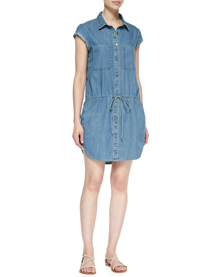 Mila Drop-Waist Denim Shirt Dress