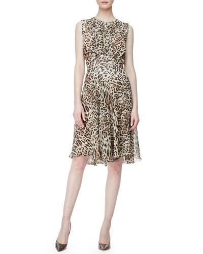 L'Agence Leopard-Print Chiffon Dress