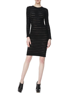 L'Agence Fitted Sheer-Stripe Dress