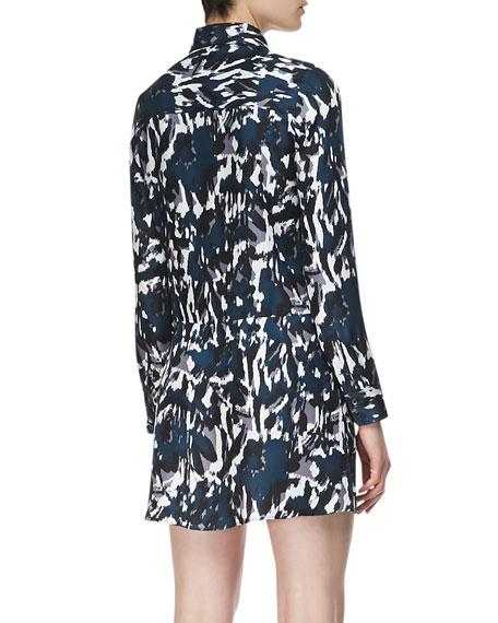 Long-Sleeve Cross-Front Silk Shirtdress