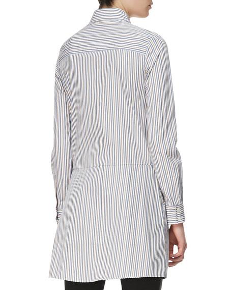 Long-Sleeve Cross-Front Cotton Shirtdress