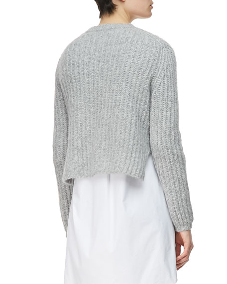 Crop Pullover, Heather Gray