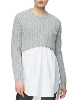 Thakoon Addition Crop Pullover, Heather Gray