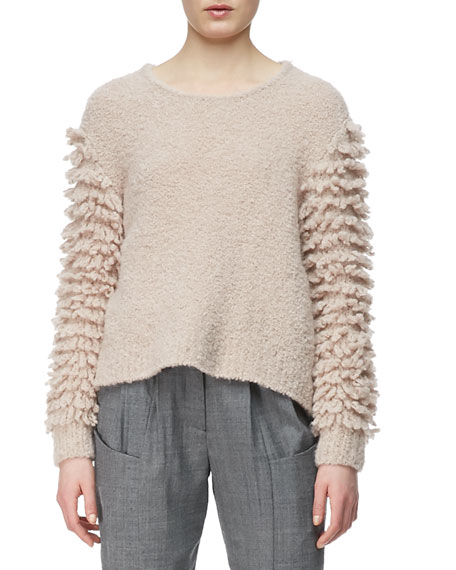 Looped-Fringe Knit Pullover