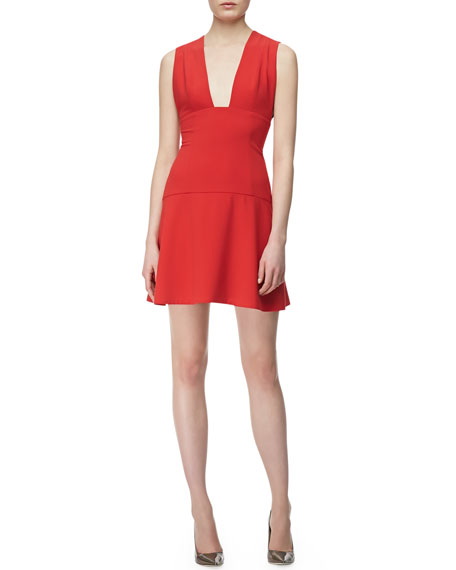 Sleeveless Plunging Open Front Dress, Red