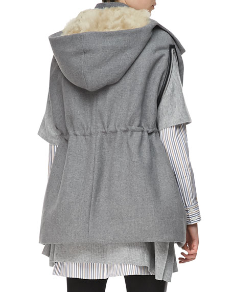 Drawstring-Waist Hooded Cape