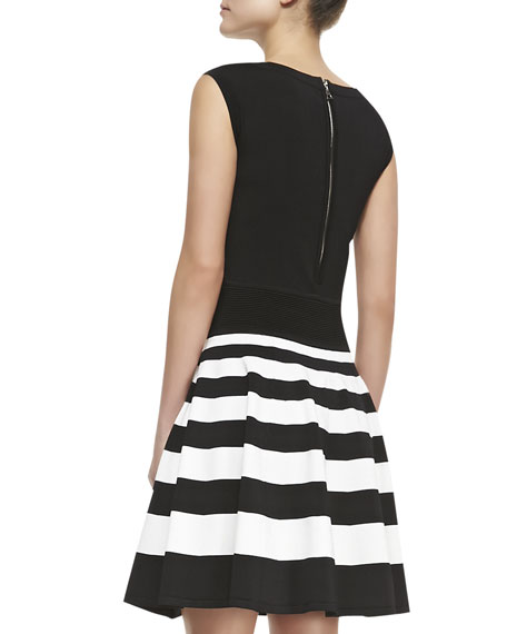 Stripe-Skirt Knit A-Line Dress