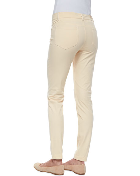 Slim-Fit Twill Pants, Platinum