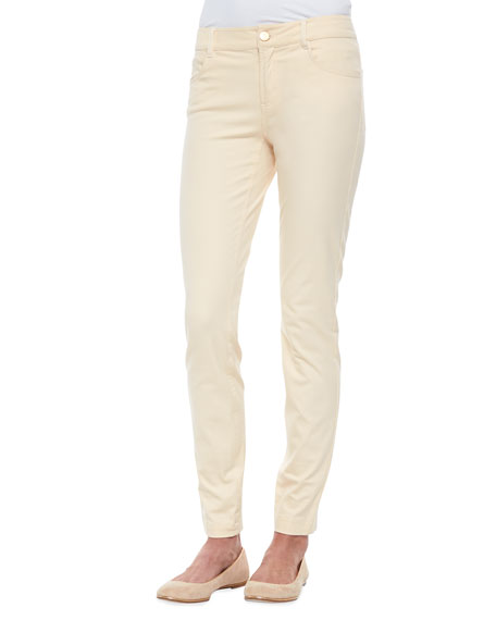 Minnie Rose Slim-Fit Twill Pants, Platinum