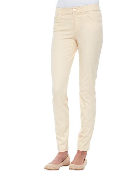 Slim-Fit Twill Pants, Platinum