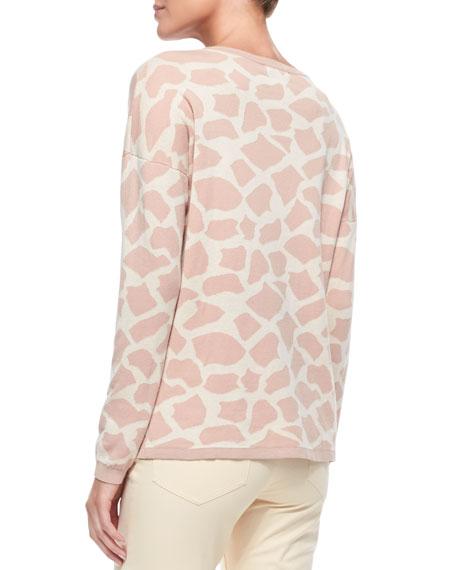 Giraffe-Print Cotton Sweater
