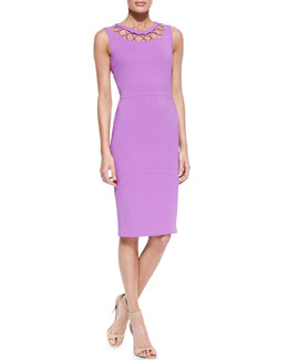 Raoul Cyane Crisscross-Yoke Sleeveless Sheath Dress