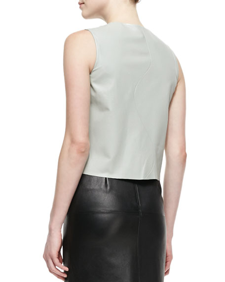 Wave Leather Vest, Gray