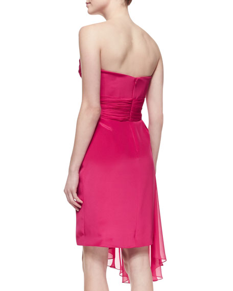 Strapless Cascade-Front Cocktail Dress, Pink