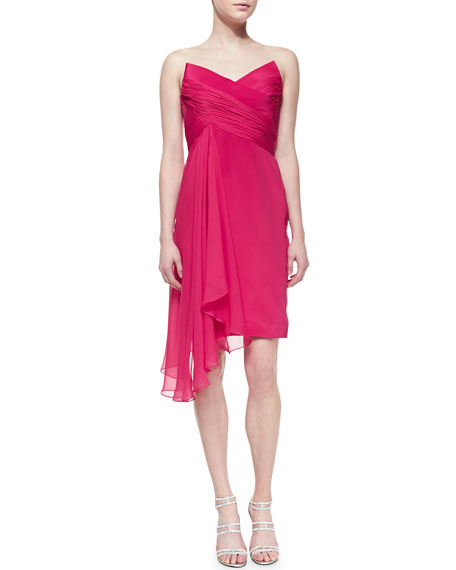Strapless Cascade-Front Cocktail Dress, Pink