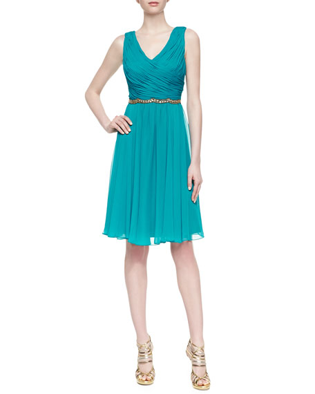 Sleeveless Silk Chiffon Beaded-Waist Dress