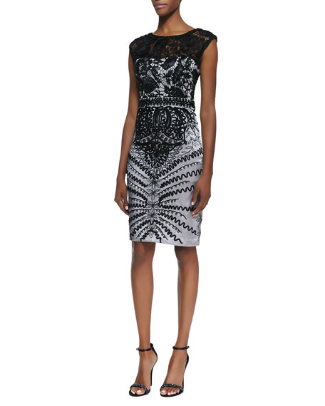 Cap-Sleeve Lace Bodice Cocktail Dress, Black/Platinum