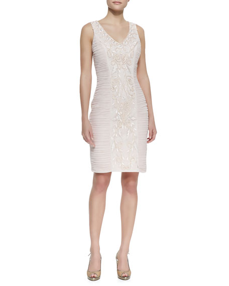 Sleeveless Beaded Center Cocktail Dress, Blush