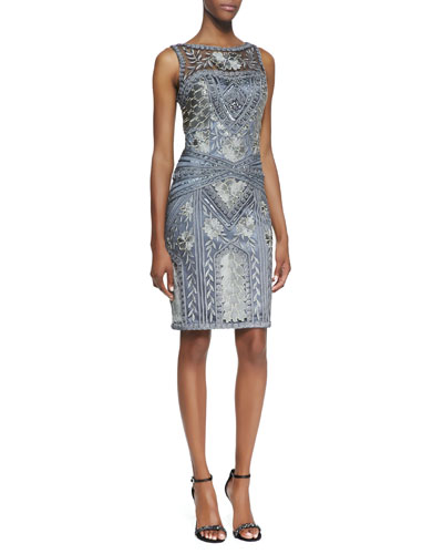 Sue Wong Sleeveless Mesh Top Embroidered & Beaded Cocktail Dress, Charcoal