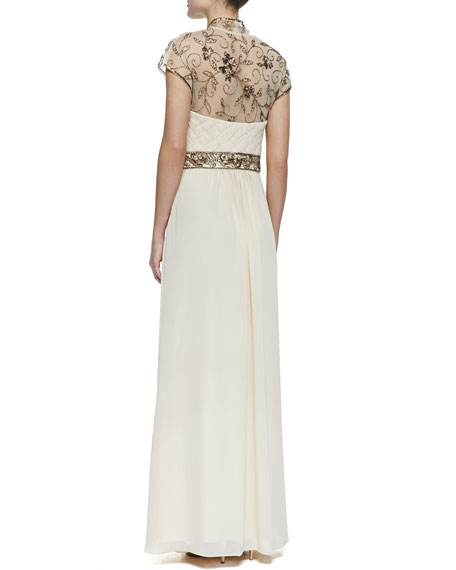 Cap-Sleeve Beaded Shoulder & Waist Gown, Champagne