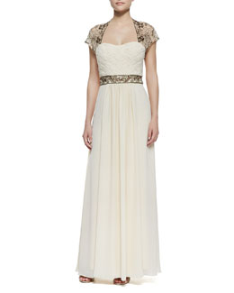 Sue Wong Cap-Sleeve Beaded Shoulder & Waist Gown, Champagne