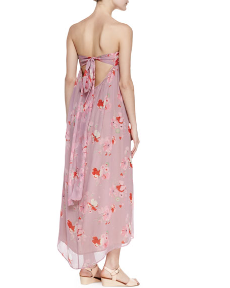 Sofia Lace-Trim Bandeau-Neck Midi Dress