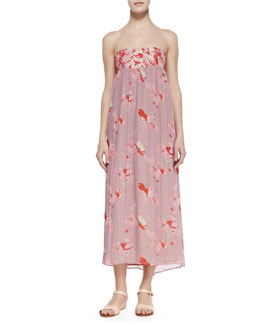 korovilas Sofia Lace-Trim Bandeau-Neck Midi Dress