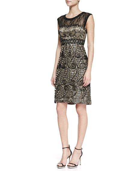 Cap-Sleeve Paisley-Pattern Cocktail Dress, Black/Nude